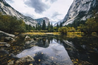 A pond and mountains in Yosemite.