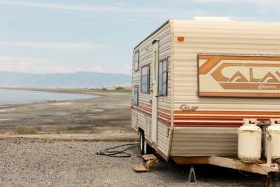 An RV in the desert.