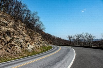 A road going through Shenandoah National Park in Virginia.