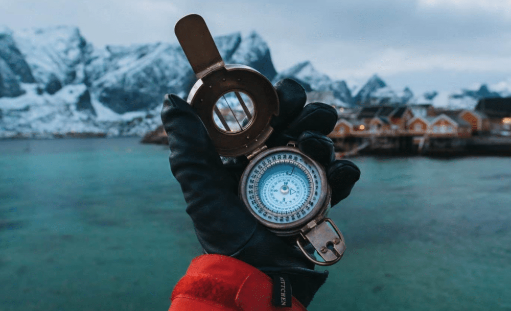best heated glove holding compass