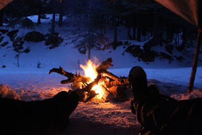 A campfire in the snow.