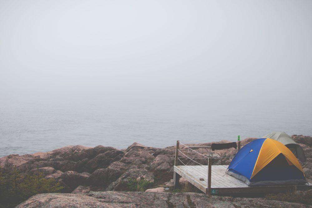 A Tent on a portable tent platform.
