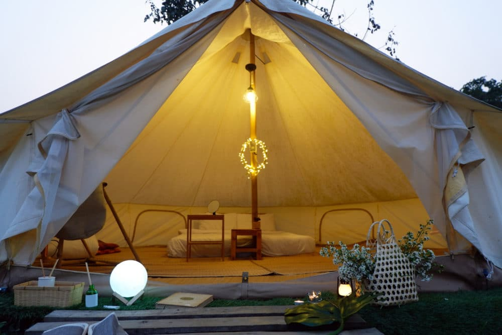Bell Tents in nature background.