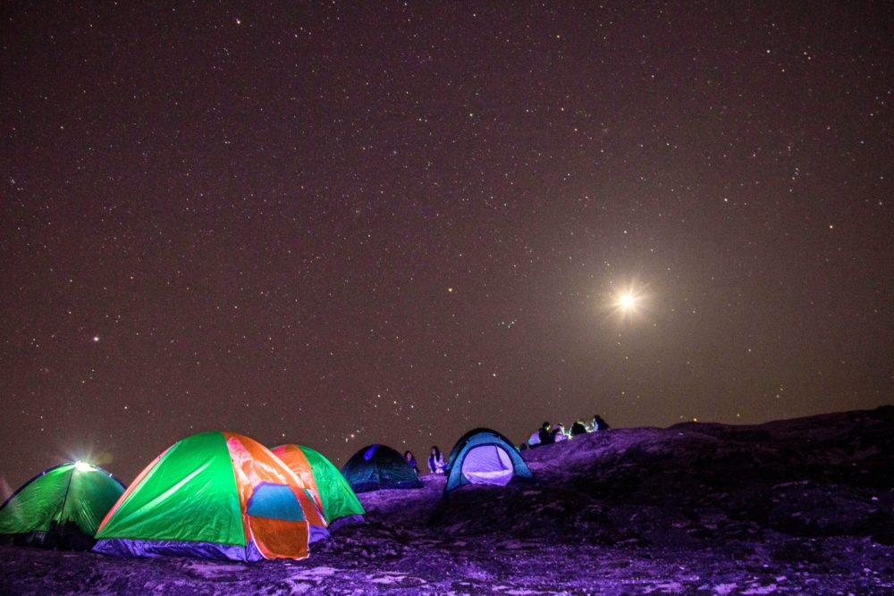 Camping tents at night.