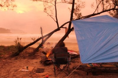 A tent during sunset.