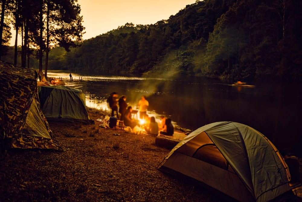 A campsite by a river.