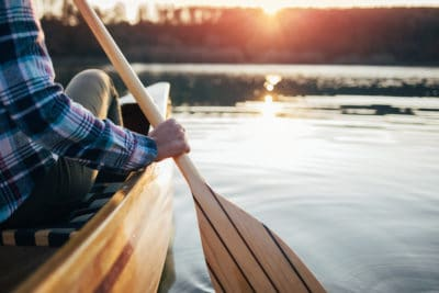 A person canoeing.