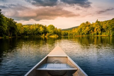A canoe on the water.