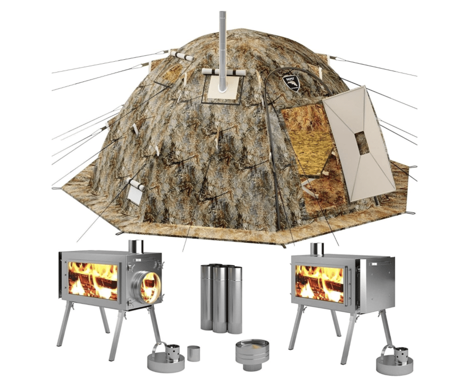A hinged door camping tent.