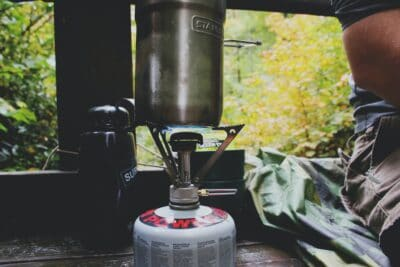 A camping stove in use.