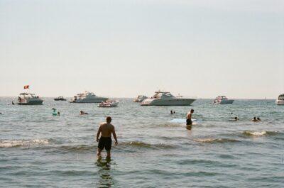 People bathing in the lake.