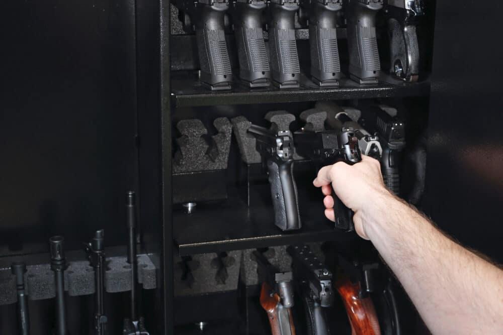A gun in a Steelwater gun safe.
