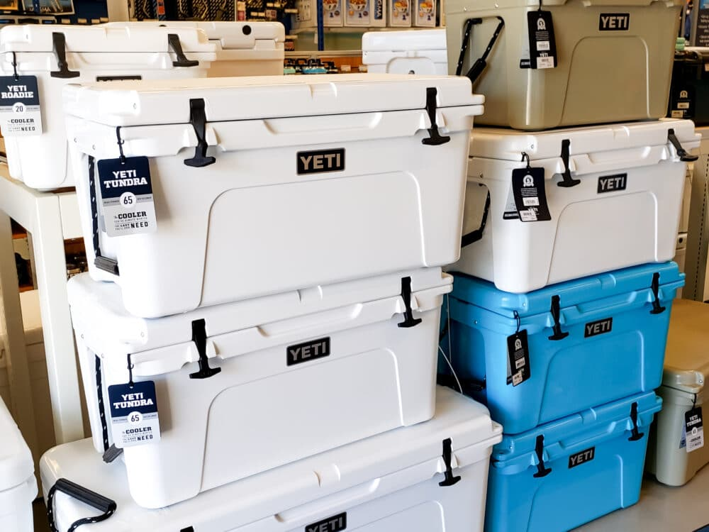 A collection of Yeti coolers.