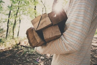 A person holding wooden planks in a forest.