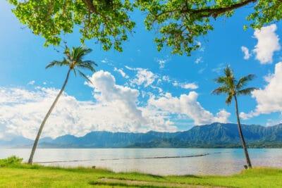 View at Kualoa Regional Park in Oahu, Hawaii