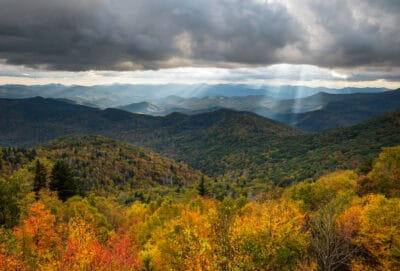 Autumn scenic landscape photography from an overlook of the southern Appalachian Mountains.