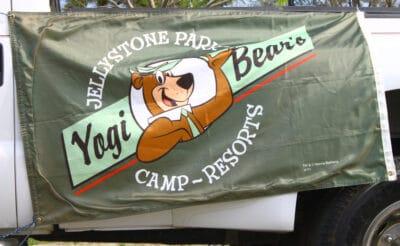 Yogi Bear Jellystone park camp-resorts in a parade.