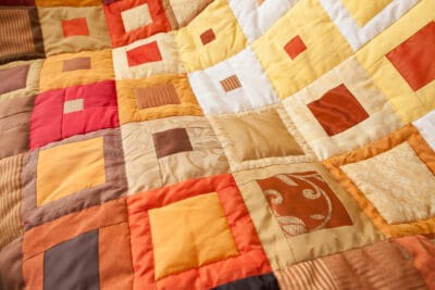 A colorful patchwork quilt.