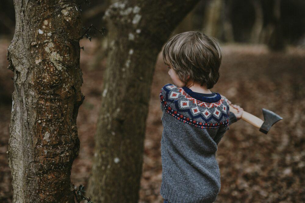 Boy hitting tree with hatchet.