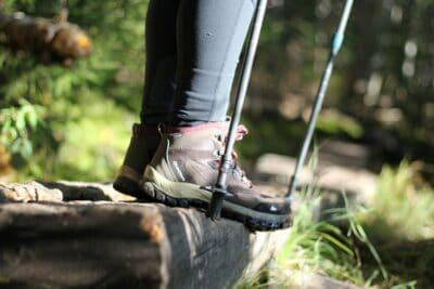 A hiker wearing boots