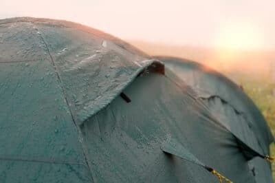Tent with water drops