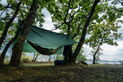 Hammock under the tent on a rainy day.