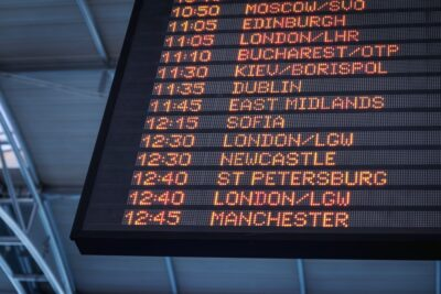 an airport information display