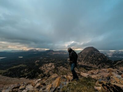 a man standing on a mountain