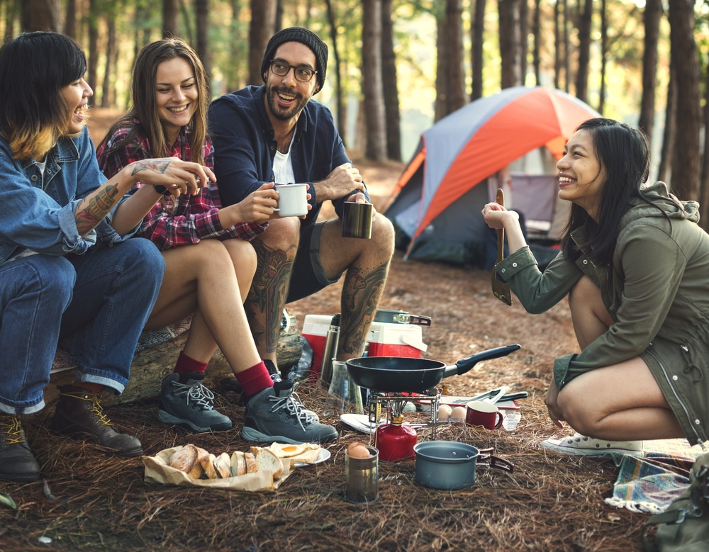 friends camping outdoors