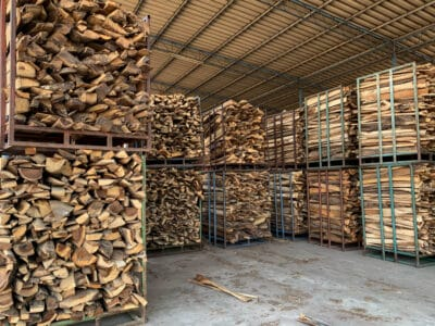 Stacks of firewood for industrial use