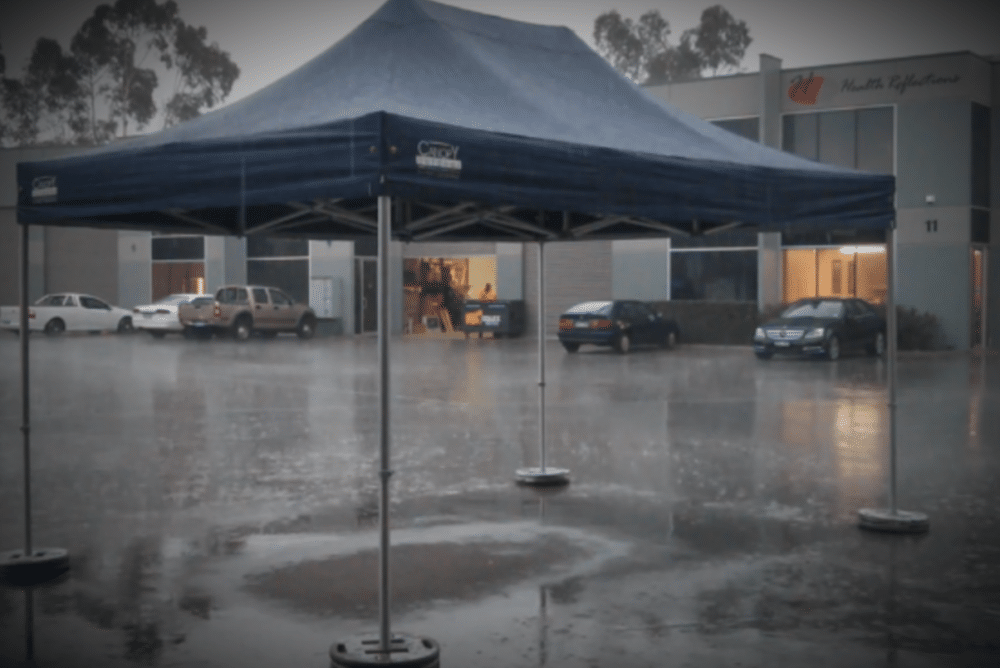 anchored canopy tent