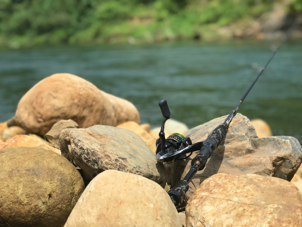 Fishing Ultralight reel and rod at freshwater